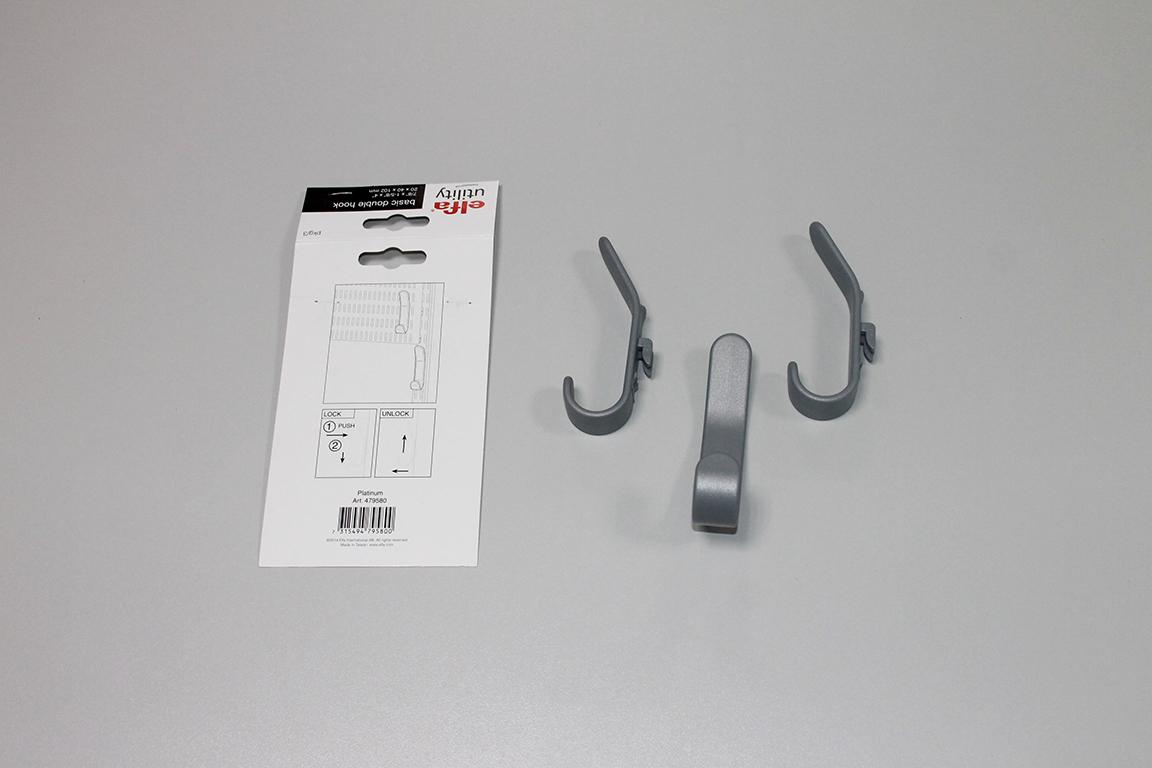 Двойной крючок для перфорированной панели (3шт/уп), серый